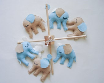 Nursery mobile, nursery decor, baby mobile, elephant mobile, baby boy gift, baby shower,taupe, blue, beige, customize your colours