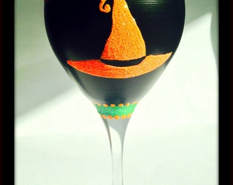 Halloween Glasses, Witches Glasses, Halloween Wine Glasses, Halloween Party, Witches Hat, Hand Painted Glasses, Orange Green and Black Glass