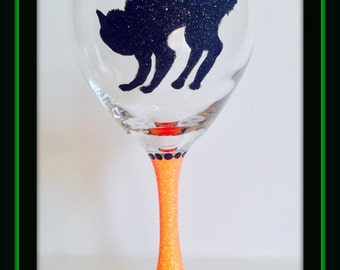 Halloween Glasses, Scary Black Cat Wine Glass, Wine Glasses for Halloween, Halloween Party, Black and Orange Glasses, Scary Cat Glasses
