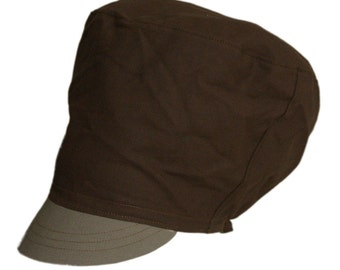 SOLID GROUND 2 -  Chocolate and taupe cap for dreadlocks, Cotton Rasta hat for Men and Women, Made to order