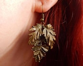 "Bronze leaves ""T(h)ree"" pagan earrings"