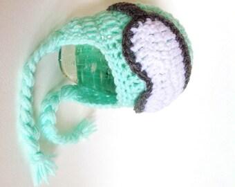 Newborn Snowboard/Ski Earflap Hat and Goggles - Mint Green