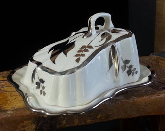 Cheese Dish, Lusterware Dish, Cheese keeper, Covered Dish, Butter Dish, Made in England, Staffordshire, Great for a collector Vintage, #2014