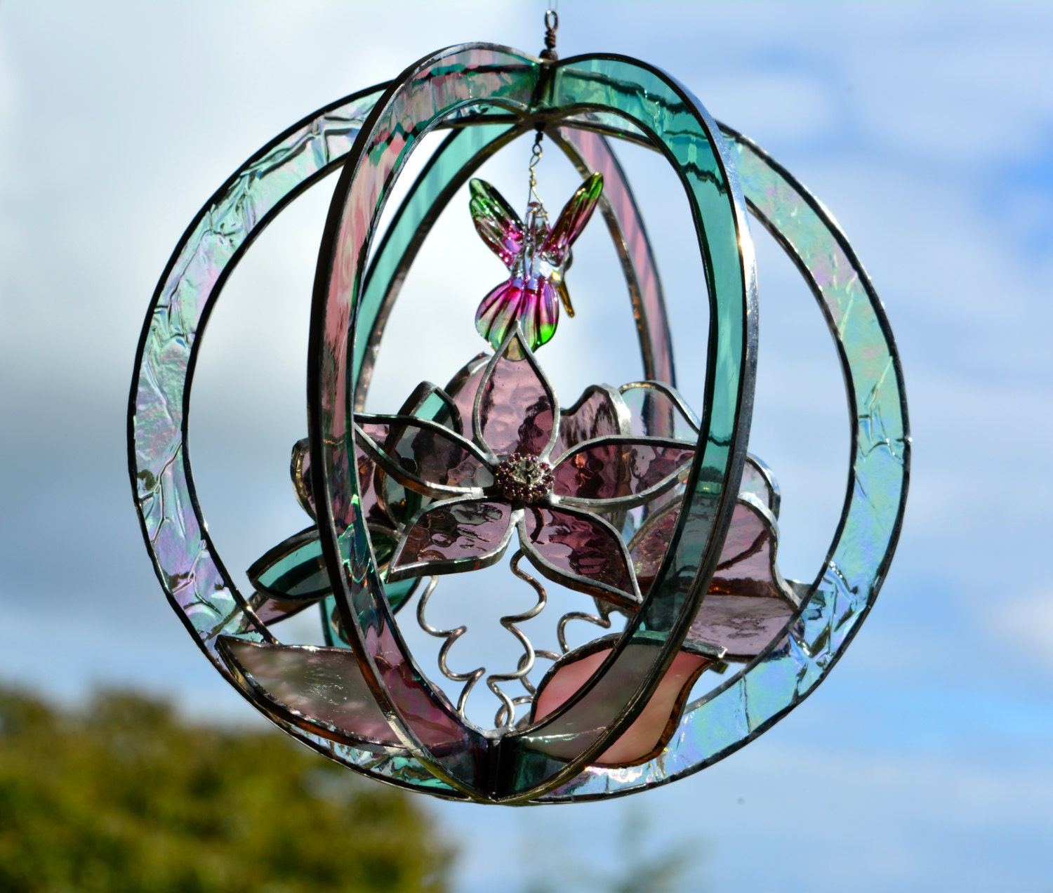 Hummingbird Stained Glass Suncatcher With 3D Flowers In Pink