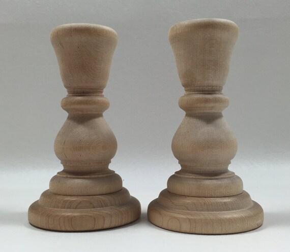 4 wood candle holders set of 2 unfinished wood - Unfinished wood candlestick holders ...
