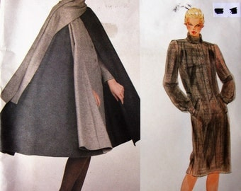 Uncut Vintage Vogue Paris Original Nina Ricci Sewing Pattern no 2789 Size 10 1980s Designer Cape & Dress