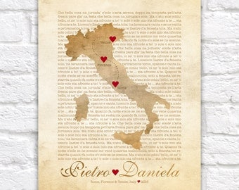 Italy Map, Wedding, Engagement in Italy, Florence, Rome, Cinque Terre, Amalfi Coast, Venice, Italian Poem, Tuscan, Rustic, Tuscany, Sicily