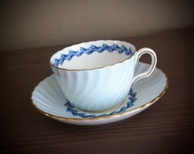 Antique Minton Blue swirl tea cup and saucer, english tea set, wedding gift