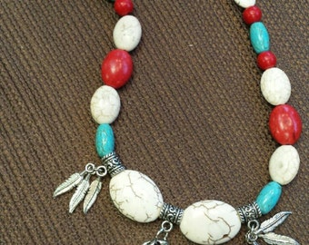 LB344 21 in necklace of turquoise, red and white howlite with Native American pendant