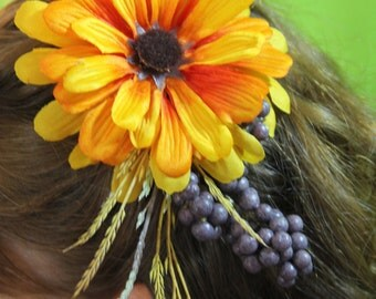 "Burnt Orange Colored Flower clip with Purple Berries and Wheat Spray ""Janet"""