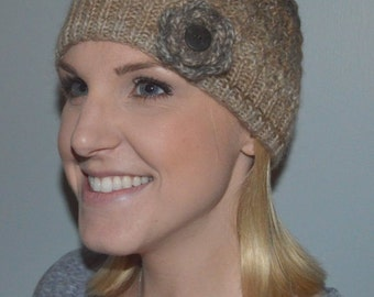 Hand Knit Lacy Hat in Beige, Dusty Brown and Grey (Item # 365)