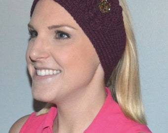 Hand Knit Merino Wool and Cashmere Headband / Ear Warmer in Wine (Item #95)
