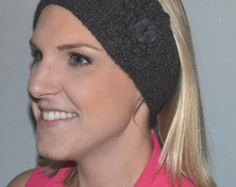 Hand Knit Baby Alpaca Headband / Ear Warmer in Charcoal Grey (Item #127)