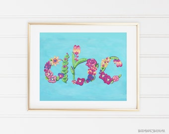 CLEARANCE Sale - ABC Letters Illustration Archival Print of Original Acrylic Painting