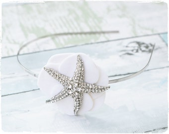 Starfish Brooch Headband Velvet Hydrangea Petals- Hair Wedding Headpiece - Silver Hair Band