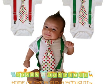 Christmas Shirt for Baby Boys - Christmas Card Photo Outfit - Newborn - Toddler - Red Green Dot Tie - Suspenders Tie - Christmas Clothes