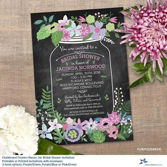 Chalkboard Mason Jar Floral Bridal Wedding By StarStreamDesign