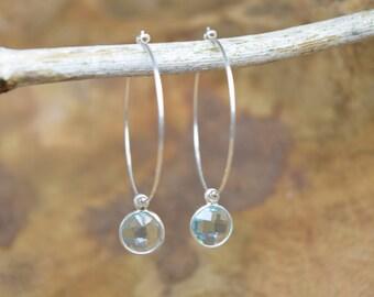 Blue topaz earrings, Gemstone earrings, Sterling silver, Bezel stones, Hoop earrings, Light blue earrings, Dangling earrings, Silver hoops