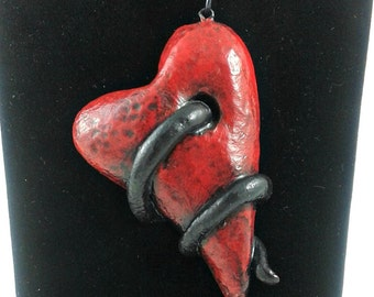 Red heart polymer clay pendant