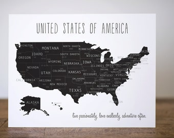 United States of America Travel Map with Major Cities | Black