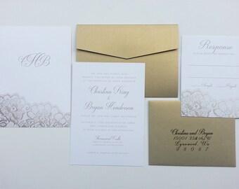 "Elegant Lace Wedding Invitation/RSVP Set - ""Darleston"" - Digital File"