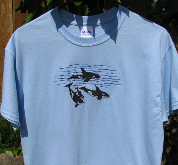 Custom embroidered orca whale pod t shirt choice of colors for Custom t shirts and embroidery