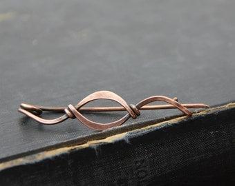 Shawl pin, scarf pin, sweater pin, brooch, cardigan closure, copper wire wrap shawl pin, hammered, metal work, elegant, modern, minimalist