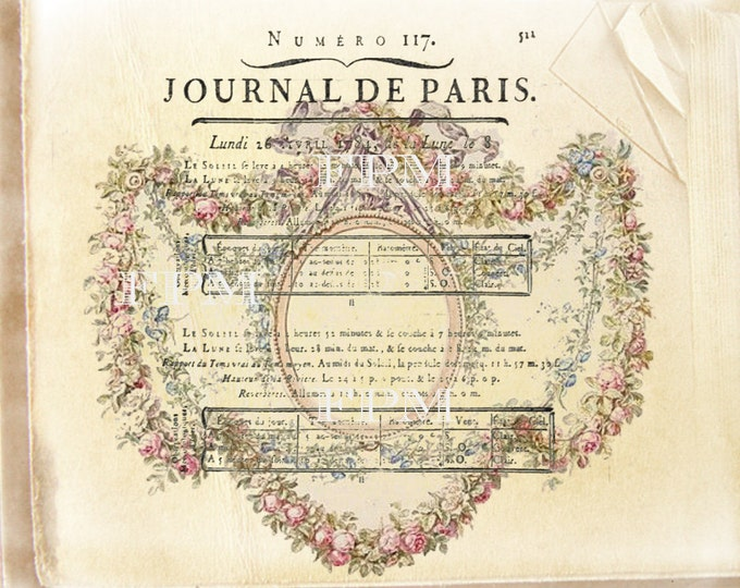 Shabby Chic Digital French Journal De Paris Printable, Old Paper French collage, Grench Pillow Graphic Transfer