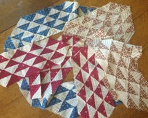 Vintage Quilt Blocks, Cotton Fabric, Ocean Waves Pattern, Tiny Triangles, Hand Stitched, Cutter Upcycle