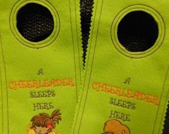 Door knob hangers, Personalised, cheerleader