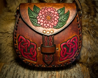 Leather Crossbody Purse Bag - Celtic Knotwork and Flowers
