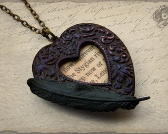 Gothic 'Lenore' loveheart pendant with black raven feather and Edgar Allan Poe extract - Purple & black - Literary Poetry jewellery jewelry