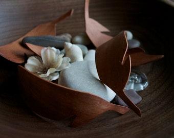 Handmade Mahogany Feathers - Set of 2 -  Reclaimed Wood, wood home decor