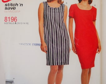Vintage McCall's Sewing Pattern 8196 Misses' Dress in Size 10, 12, 14, 16. Easy to Sew Dress. Sheath Dress
