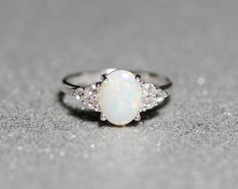 Genuine Australian Opal White Topaz Sterling Silver Ring