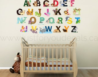 Alphabet Wall Decal - Nursery  Wall Decal - Alphabet Wall Decal Nursery - Playroom Wall Decal - Play Room Wall Decal - 01-0027