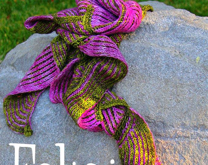 Featured listing image: Folioj Scarf Wrap, beautiful brioche with short row shaping! PATTERN