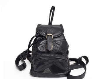 Vintage 90's Real Leather Mini Backpack