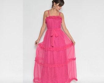 Vintage 70's Pink Maxi Ruffles Dress