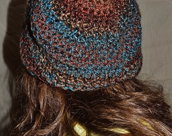 Super Slouchy Beanie - Multicolor Burgunday Blue Brown
