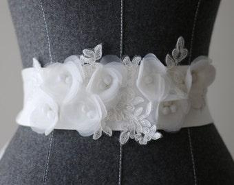 Handmade Lace Flower Wedding Sash Bridal Belt ,width wedding flower sash ,Ivory white flower sash belt