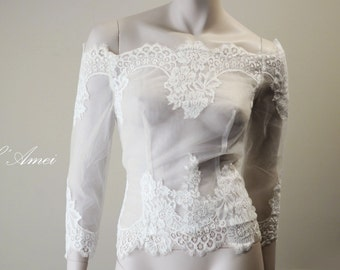 Ivory Off-Shoulder Soft Lace Wedding Bridal Blouse Bolero Jacket Shrug