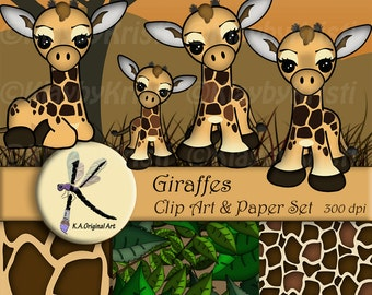 Digital Printable Giraffe Clip Art & Paper Set -INSTANT DOWNLOAD- Scrapbook Pages and Clipart
