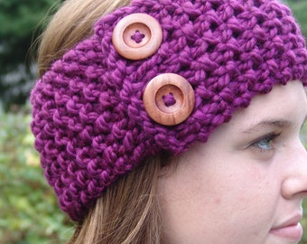 READY TO SHIP: Knit Ear Warmer Headband with Wood Buttons- Lambs Wool Blend in Clemantis Purple