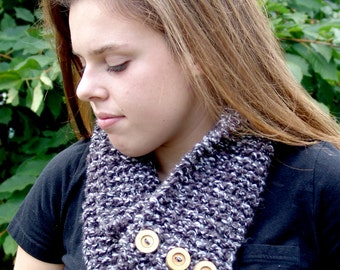 Knit Infinity Scarf with Button Closure / Circle Scarf in Grey Blend