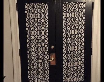 Black Designer French door curtains Curtain, patio door curtain, door curtains, small window curtains, Black and white