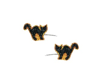 20% off everything with the code XMAS20 Glittered Black Cat Bobby Pins Halloween Hair Clip