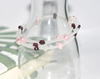"""Wrap Bracelet """"Pearl & Garnet"""""""