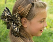 Girls Large Gold and Black Hair Clip Accessory