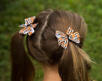 Halloween Girls Chevron Pumpkin Bow Accessories